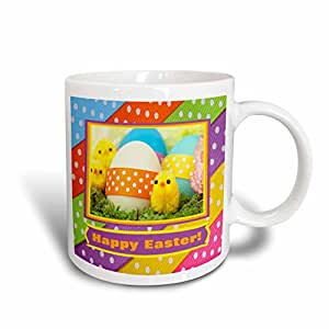 3dRose mug_174071_1 Soft Yellow Chicks with Eggs and Dotted Ribbon Happy Easter Ceramic Mug, 11-Ounce, White