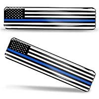 2 x 3D 圆顶硅胶贴纸贴花美国美国薄蓝线国家美国警察支持旗帜汽车摩托车头盔 F 59