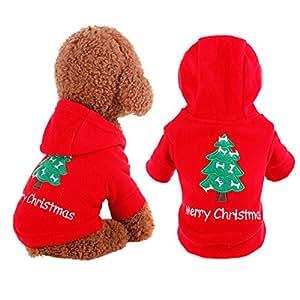 "UHeng 宠物狗套装服装圣诞树假日服装保暖连帽衫 L-Back length:32cm/12.6"" L"