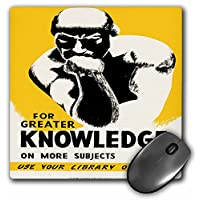 """3D 玫瑰哑光鼠标垫 - 8 x 8 For Greater Knowledge Use Your Library Often With Thinker Statue 8 x 8"""""""