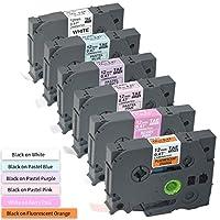 兼容标签替换带 适用于 Ptouch TZe TZ 胶带 12mm 1/2 英寸 TZe231 TZeB31 TZeMQP35 MQF31 MQE31 MQ531 层压(白/橙/浆粉色/紫色/蓝色),适用于 Brother PTD210 PTD400 PTD200
