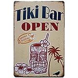 Tiki HUT is Open - 热带泳池露台船巴标志牌匾 TSC175