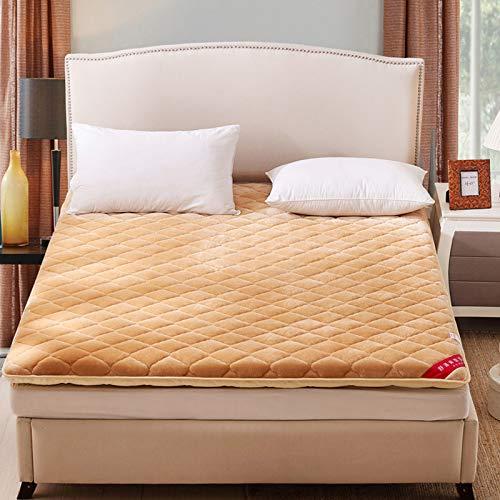 水漾 法兰绒床垫床褥垫被1.8x2.0米垫子褥子1.5m家用加厚保护垫 驼色- 90 * 200cm(约2.2KG)