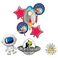 Mayflower Products 火箭太空外星人可爱宇航员生日派对用品气球花束装饰