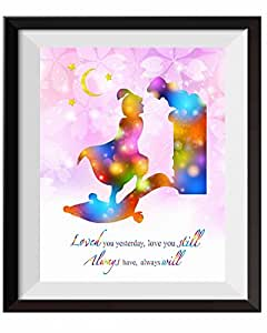 Uhomate 公主茉莉和阿拉丁和茉莉家居帆布印刷墙艺术婴儿礼物创意语录墙饰客厅卧室浴室艺术品 C079 11X14 inch