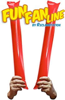 FUN FAN LINE – 60 对竹制薄膜棒。 体育赛事的Noise Makers Boom Sticks for Cheerleading。 体育场或派对的噪音棒。 红色