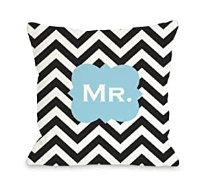 Bentin 家居装饰先生 OBC 右抱枕套 Mr Chevron - Black White Blue 16x16 Pillow Cover 10721PL16C