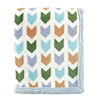 Hudson Baby Print Coral Fleece Blanket, Blue Chevron
