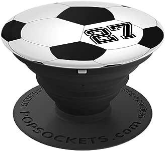 足球运动员 #27 球衣号 27 号足球小部件礼物 PopSockets 手机和平板电脑握架260027  黑色