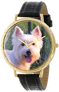 异想天开的手表女式 N0130073 Westie 黑色皮革和金色照片手表