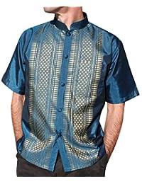 RaanPahMuang 短袖中国编织图案丝绸衬衫 蓝* XX-Large