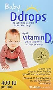 Ddrops 婴幼儿维生素D滴剂 400 IU 90滴 2.5mL (0.08盎司)