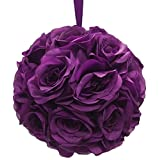 Firefly Imports Flower Kissing Balls Pomander Pom Pom Wedding Centerpiece, Purple