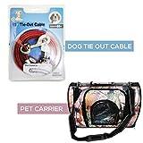 狗绳索和宠物背带硬木迷彩设计两件装产品, 15 英尺长电缆,便携宠物背带, 耐用宠物配件, TIE OUT CABLE + PET CARRIER