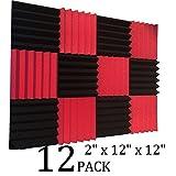 12 个装楔形红色/黑色隔音工作室泡沫砖 5.08 厘米 x 30.48 厘米 x 30.48 厘米