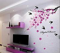 StickersKart Wall Stickers Pink Flower Branch with Birds (Multi-Colour, 150cm...-936