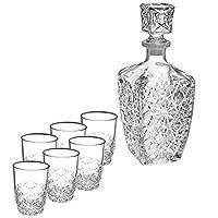 Bormioli Rocco Dedalo 7 件套乳液套装,玻璃,透明,20.4 x 21.10 x 10.30 厘米