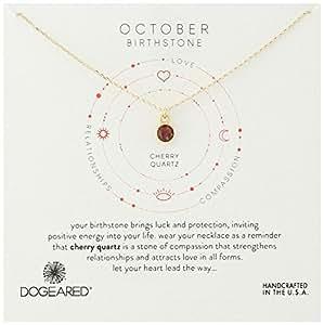 "Dogeared多琪儿标准纯银边框诞生石吊坠项链,16英寸(约40.6厘米)+ 2英寸(约5厘米)延伸  October/Cherry Quartz 16""+2"" Extender"