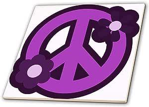 3dRose ct_124607_2 Purple Peace Sign with Purple Flowers Ceramic Tile, 6-Inch