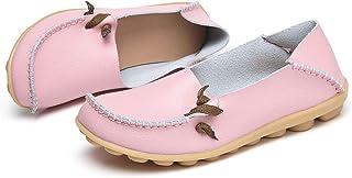 Robasiom 女式皮革乐福鞋透气一脚蹬软帮休闲舒适步行平底鞋
