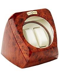 Diplomat Burl Wood 双手表手表 带皮革内饰和多档设置 智能 IC 计时器