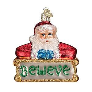 Old World 圣诞节玻璃吹制装饰品带 S 形挂钩和礼品盒,圣诞老人系列 Believe Santa 40262