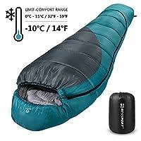 Bessport Mummy 睡袋 30 度 F - 3 季背包睡袋适合成人和儿童 - 轻便保暖可洗,适合远足、旅行和户外活动