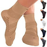 TechWare 专业护踝压力袜 - 足底*缓解*袜,带足弓支撑。 脚套缓解跟腱*和脚跟*。 女士和男士。 日常使用和受伤恢复 Beige/Beige M (Women 8.5-11.0 / Men 7.5-10.0)