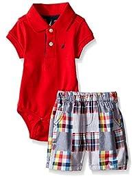Nautica Baby Boys' Short Sleeve Polo Core Bodysuit Set