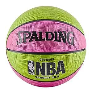 """Spalding 斯伯丁 NBA Varsity户外橡胶篮球 粉色/绿色 Intermediate Size 6 (28.5"""")"""