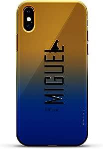 奢华设计师,3D 印花,时尚,高端,高端,Chameleon 变色效果手机壳 iPhone Xs MaxLUX-IMXCRM2B-NMMIGUEL2 Miguel, Modern Font First Name Dusk Blue