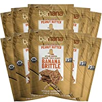 Barnana Organic Crunchy Banana Brittle - Peanut Butter, 3.5 Ounce (10 Count) - Healthy Vegan Cookie Style Dessert Snack - Made with Sustainable, Eco Friendly Upcycled Bananas