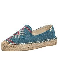Soludos 女 草编鞋Yucatan Embroidered Plat SM 1000134(亚马逊进口直采,美国品牌)
