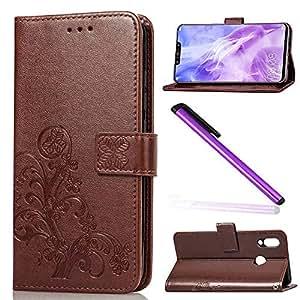 EMAXELER 华为 Nova 3 手机套 3D 全时尚保护套保护彩色压花支架翻转信用卡口袋 PU 皮革翻盖钱包带支架 适用于华为 Nova 3 棕色