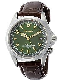 Seiko 男士日本自动不锈钢和皮革休闲手表,颜色:棕色(型号:SARB017)