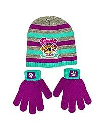 Paw Patrol 狗狗巡逻队女孩冬季帽子和手套套装,均码