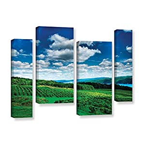 """ArtWall 4 Piece Steve Ainsworth's Vineyard and Lake Gallery Wrapped Canvas Staggered Set, 24 x 36"""""""