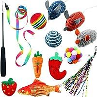 Sumind 13 件猫玩具小猫玩具组合包括猫咪*棒猫薄荷老鼠鱼玩具彩色球彩虹魅力猫咪互动玩具,小猫