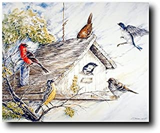 Wall Decor Birds At Birdhouse Wild Animal Nature Fine Art Wall Decor Print Poster (16x20)