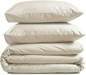 AmazonBasics 亚马逊倍思 * 纯棉超柔软被套套装 – 155 x 200 厘米 / 80 x 80 厘米 亚麻