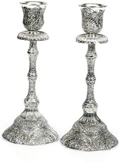 """镀银羊花烛台,精细的花丝设计,高度抛光现代设计,30.48 厘米 银色 8"""""""