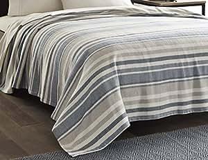 Eddie Bauer 213122 Herringbone Blanket, Twin, Blue Stripe
