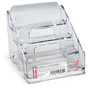 OfficemateOIC Breast Cancer Awareness Business Card Holder, 4 Tiers, Clear (08930)
