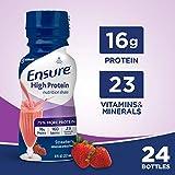 Ensure 高蛋白营养奶昔含16克优质蛋白,代餐奶昔,低脂,草莓,8 fl盎司,24粒