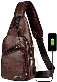 Peicees 皮革单肩包 w/USB 充电胸部斜挎背包 男式 Style1-dark Brown Mid Size