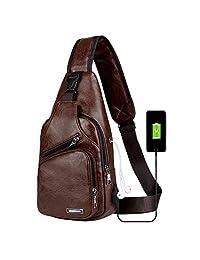 Peicees 男式皮革单肩包,带 USB 充电器,旅行健身房自行车笔记本电脑,iPad 相机,胸部斜挎包,多用途单肩背包,男女皆宜