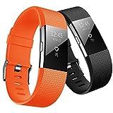 Hanlesi 腕带与 Fitbit Charge 2 兼容,软硅胶透气时尚运动带,适用于 Fit bit Charge2 替换原装配件