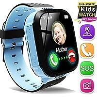兒童智能手表手機 GPS 追蹤器適合 3-12 歲女孩男孩 1.44 厘米觸摸屏 SOS *電話語音聊天防丟失相機學習游戲玩具兒童腕帶回上學夏季生日禮物