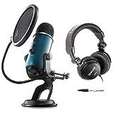 蓝色麦克风 Yeti Teal USB 麦克风,带工作室耳机和旋钮滤波器
