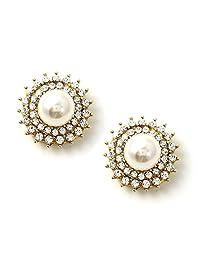 金色半圆顶 奶油 珍珠 中心包裹 水晶水钻和铆钉耳钉